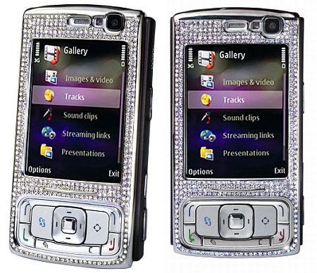 Nokia N95, украшенная бриллиантами, белым и желтым золотом, фото: amosu.co.uk