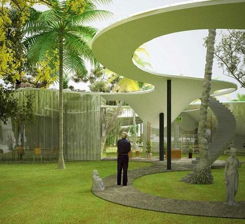 Drop Blob – стеклянный дом в Майами с бассейном на крыше