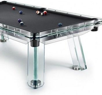 Роскошный бильярдный стол из стали и стекла