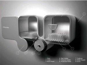 Креативный дизайн посудомоечной машины в виде шкафчика