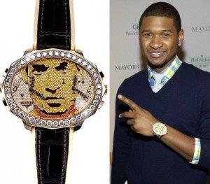 Usher заказал драгоценные часы со своим портретом