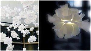 Светильники в виде бумажных цветов навевают мысли о весне