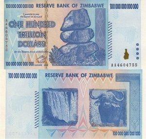 В Зимбабве выпущена банкнота в 100 триллионов