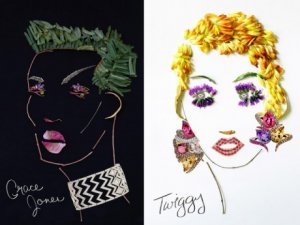 Портреты Лагерфельда и Лиз Тейлор выложили из драгоценных камней
