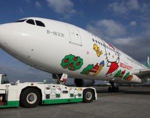 Очаровательный рейс на самолете в компании с Hello Kitty