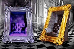 В роскошном кресле, как на парадном портрете