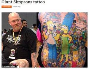 Тату-картину из 203 героев мультсериала «Симпсоны» нанесли на тело австралийца