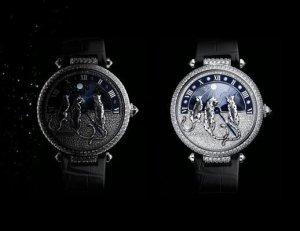 Роскошные зоочасы с триадой пантер от бренда Cartier